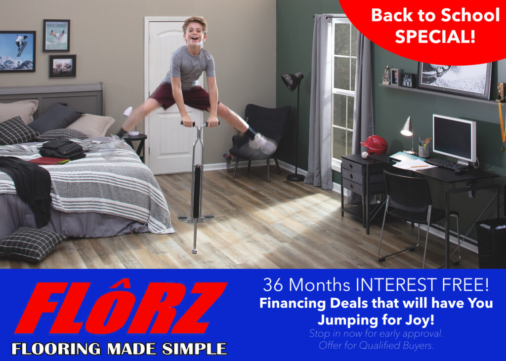 New Flooring, Laminate Flooring, Luxury Vinyl Flooring, Back to School Special, Interest Free Financing